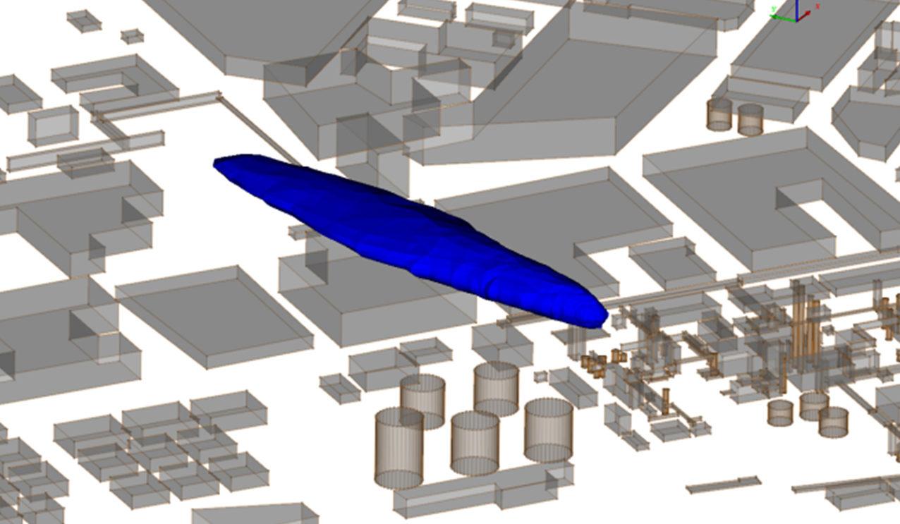 Simulation de l'émission et de la dispersion accidentelle sur un site chimique